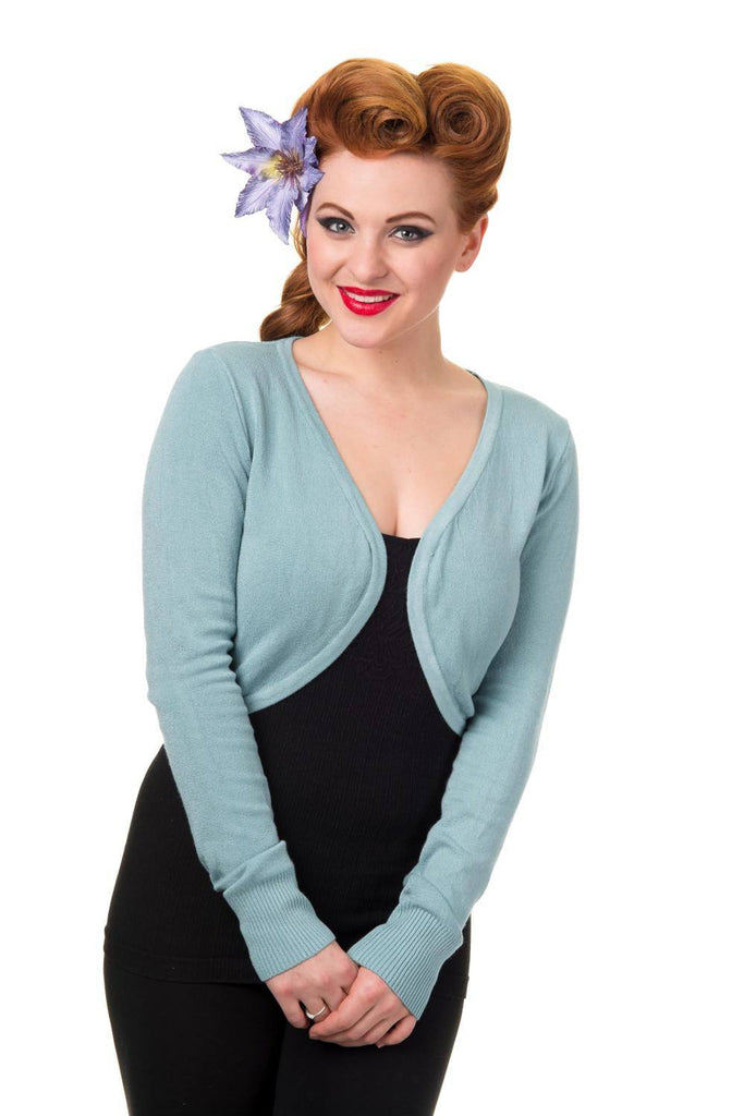 Pastel Blue Flickers BoleroBoleroBanned - Cherri Lane 50's Vintage Inspired Pinup Rockabilly & Alternative Clothing Australia