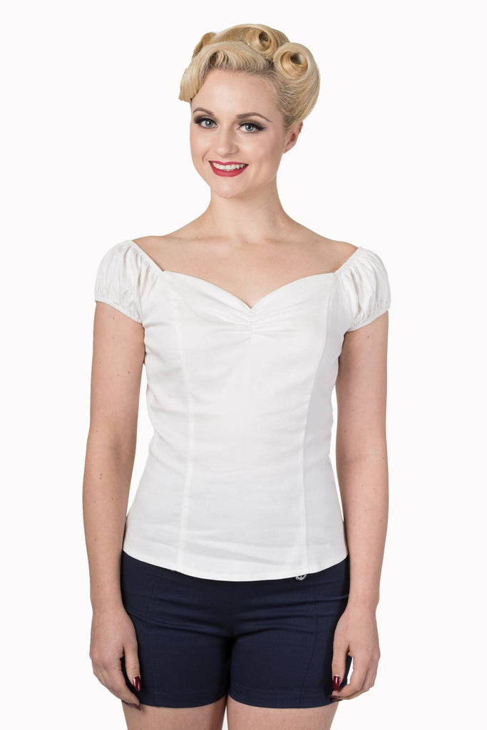 Winnie Top Off White Plus SizeTopBanned - Cherri Lane 50's Vintage Inspired Pinup Rockabilly & Alternative Clothing Australia