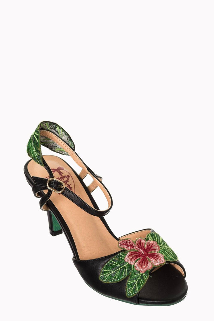 April Love Low Heel Open Toe SandelShoesDancing Days - Cherri Lane 50's Vintage Inspired Pinup Rockabilly & Alternative Clothing Australia