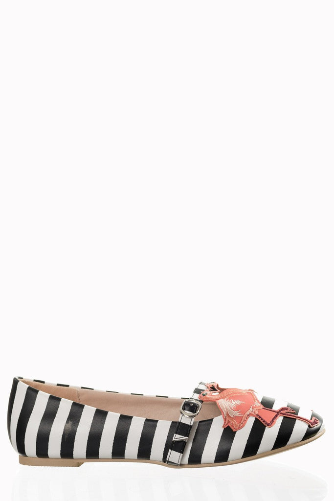 Magic Moment Black & White Striped Flamingo Mary Jane Flats