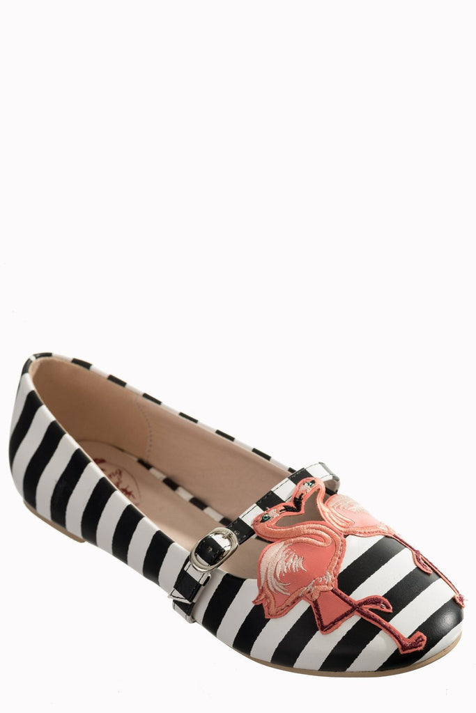 Magic Moment Black & White Striped Flamingo Mary Jane FlatsShoesDancing Days - Cherri Lane 50's Vintage Inspired Pinup Rockabilly & Alternative Clothing Australia