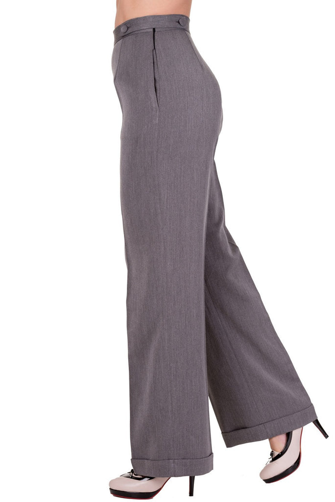 Party On High Waisted Slim Legged Trousers Grey