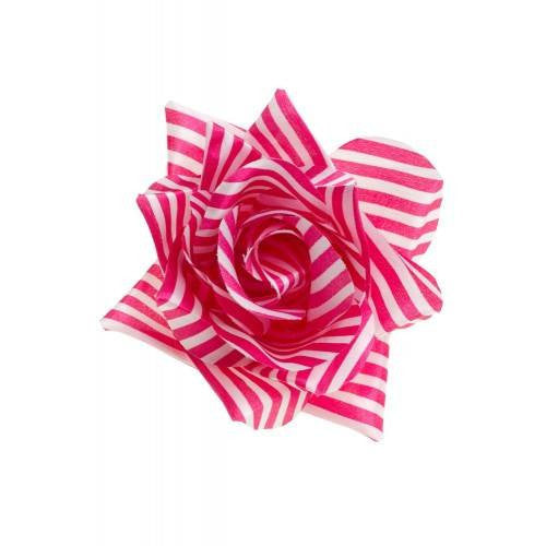 Sourpuss Rose Hair clip White and Pink Stripes RoseAccessoriesSourpuss - Cherri Lane 50's Vintage Inspired Pinup Rockabilly & Alternative Clothing Australia