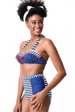 Nautical Navy & White Halter Bikini