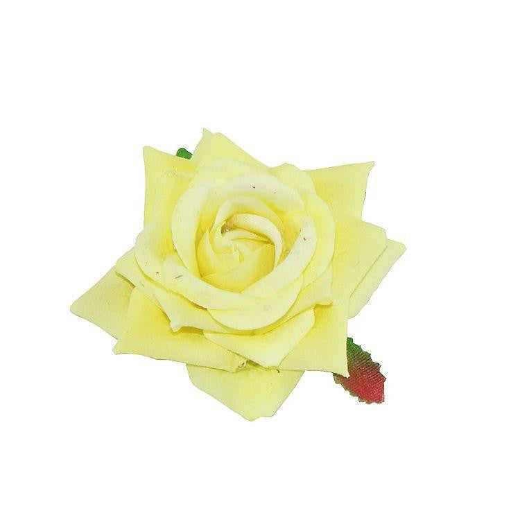 Velvet Rose Hair Flower Clip/Brooch 7cm Lemon