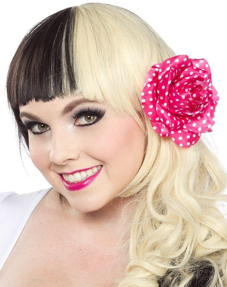 Sourpuss Rose Hair clip Pink with White spots Rose