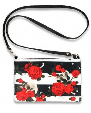 Skull n Roses Shoulder Strap Coin Purse