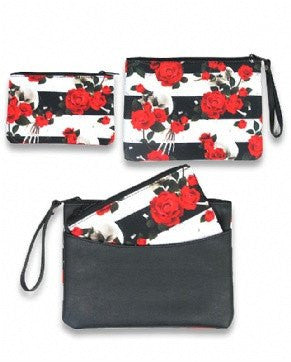 Skull n Roses 2 pc set Clutch and Coin Purse Liquor Brand