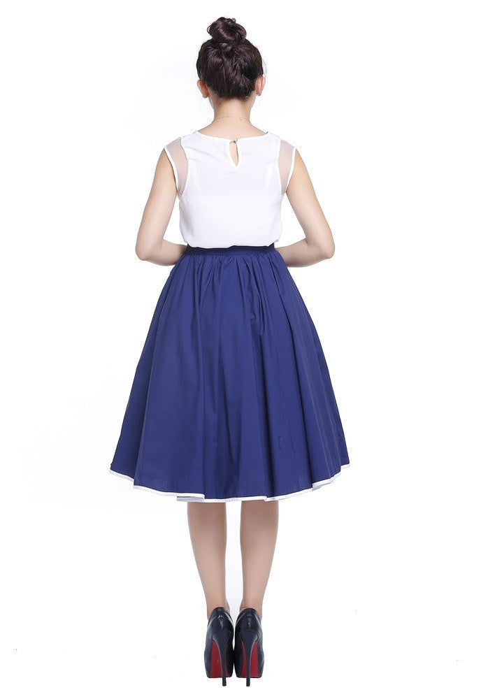 Navy Contrast Trim Swing Skirt with Pockets Plus Size