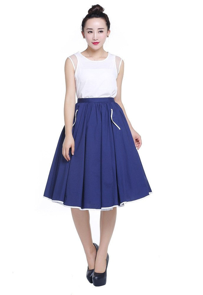 Navy Contrast Trim Swing Skirt with Pockets Plus SizeSkirtchicstar - Cherri Lane 50's Vintage Inspired Pinup Rockabilly & Alternative Clothing Australia