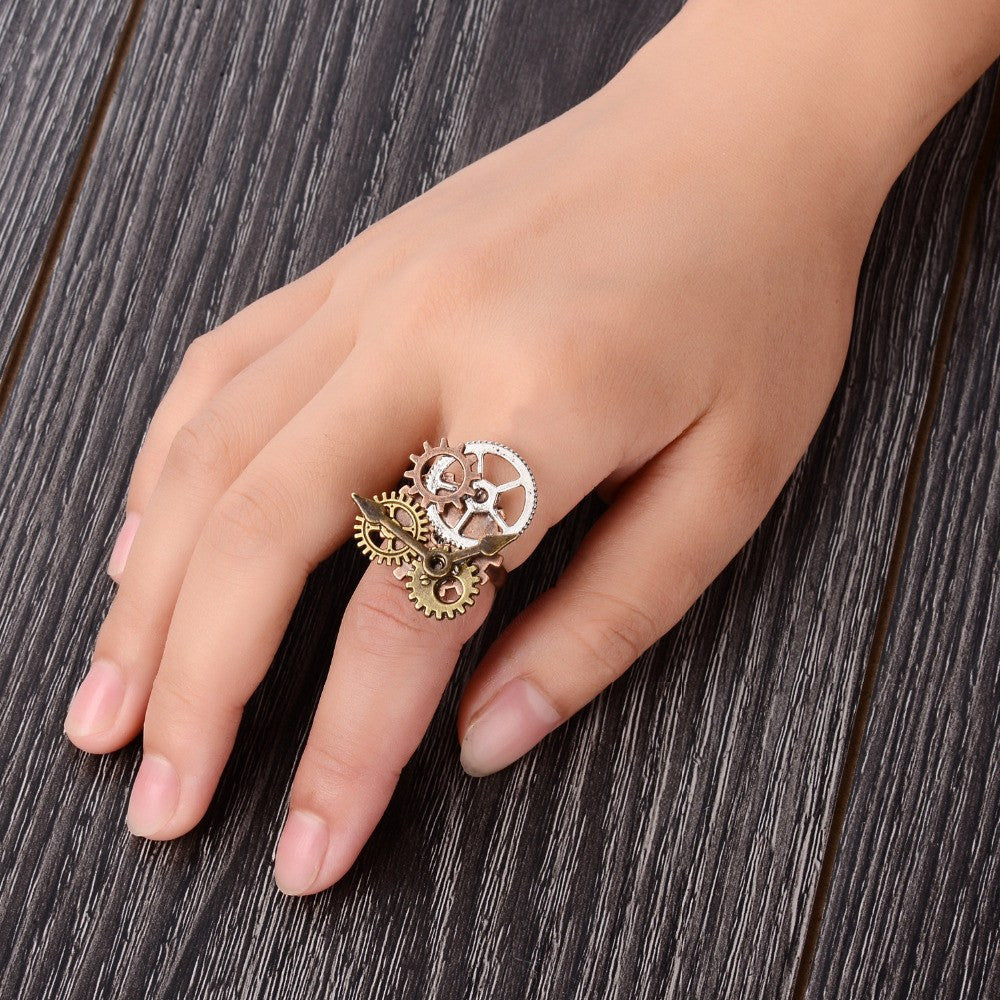 Hands of Time Steampunk Cogs Adjustable Ring