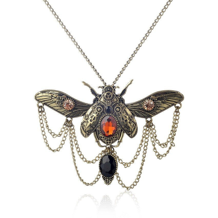 Beetle Chain Gem Pendant Steampunk Necklace Bronze PlatedNecklaceCherri Lane - Cherri Lane 50's Vintage Inspired Pinup Rockabilly & Alternative Clothing Australia
