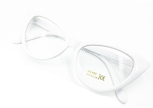 Cat's Eye Glasses White Frame with Clear Lense