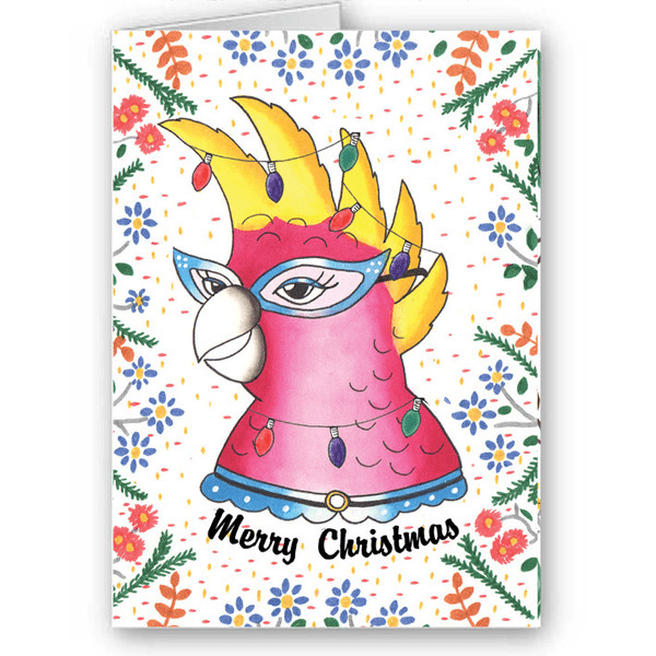 Cheryl the Cockatoo Jubly Umph Christmas CardCards and gift wrapJubly-Umph - Cherri Lane 50's Vintage Inspired Pinup Rockabilly & Alternative Clothing Australia