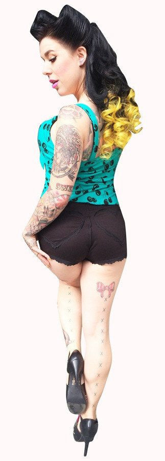 Black Betty Heart Shorts by switchblade StilettoshortsSwitchblade Stiletto - Cherri Lane 50's Vintage Inspired Pinup Rockabilly & Alternative Clothing Australia