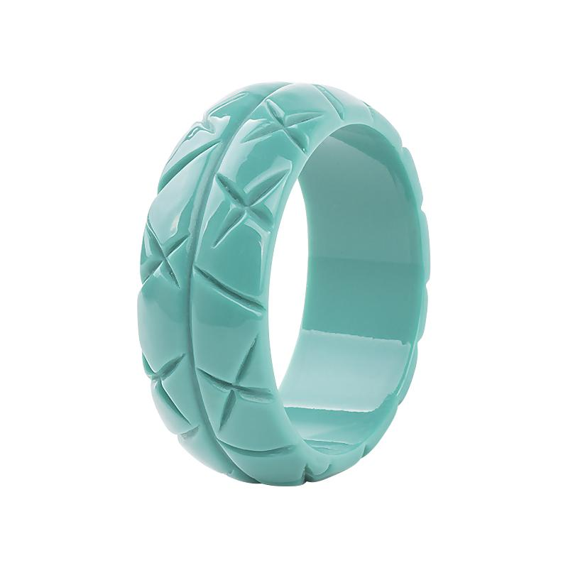 Cross Hatch Carved 3cm Wide Resin Bangle Light Teal