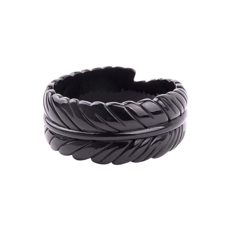 Fancy Feather Carved 3.4cm Wide Resin Bangle Ebony