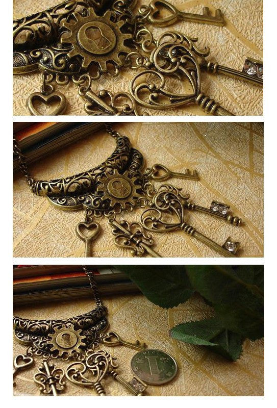 Steampunk Lock and Key Necklace