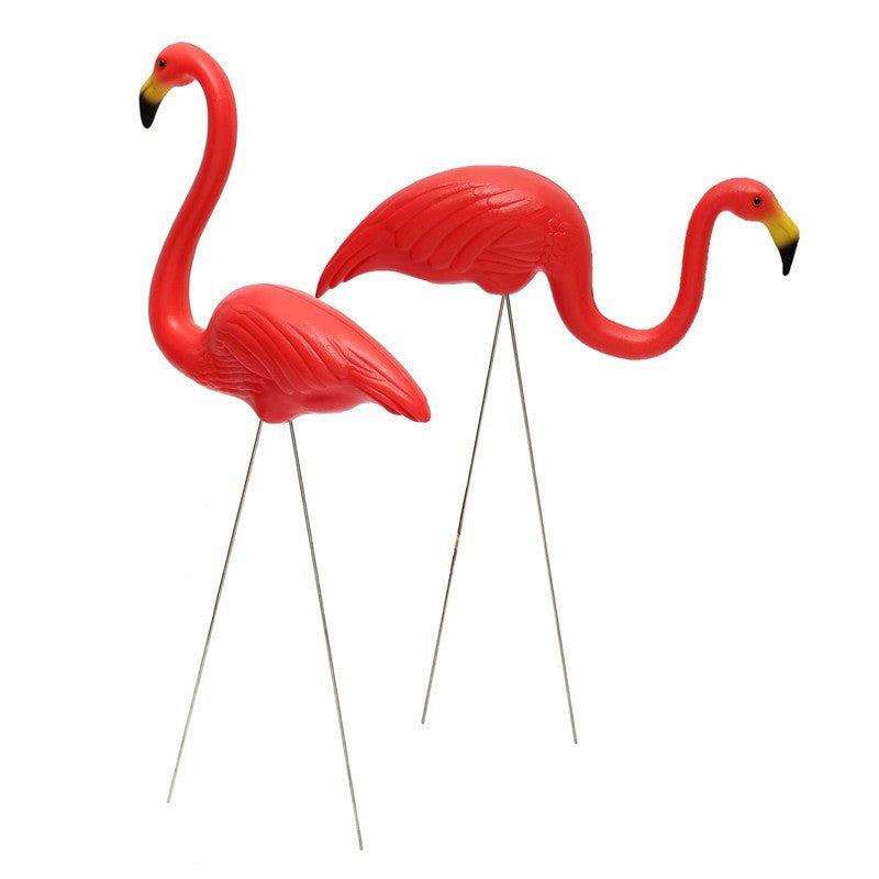 Red Plastic Lawn Flamingo one Pair