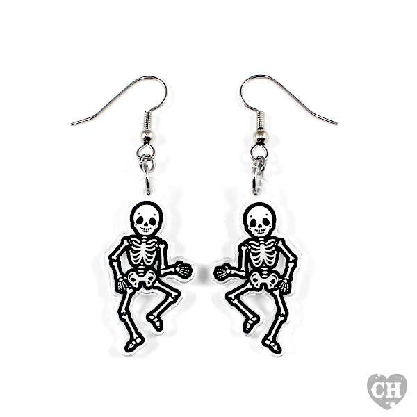 Mr Skeleton Dance EarringsEarringsCreep Heart - Cherri Lane 50's Vintage Inspired Pinup Rockabilly & Alternative Clothing Australia