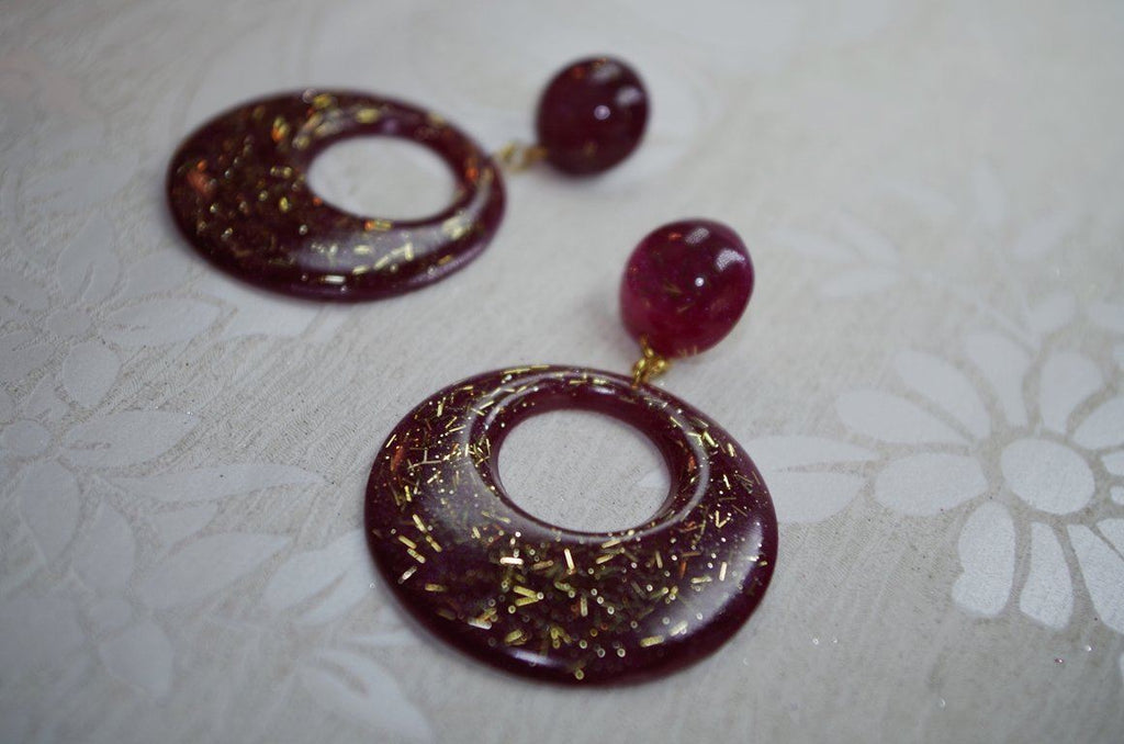 Red Glitz – Small Hoop Earrings