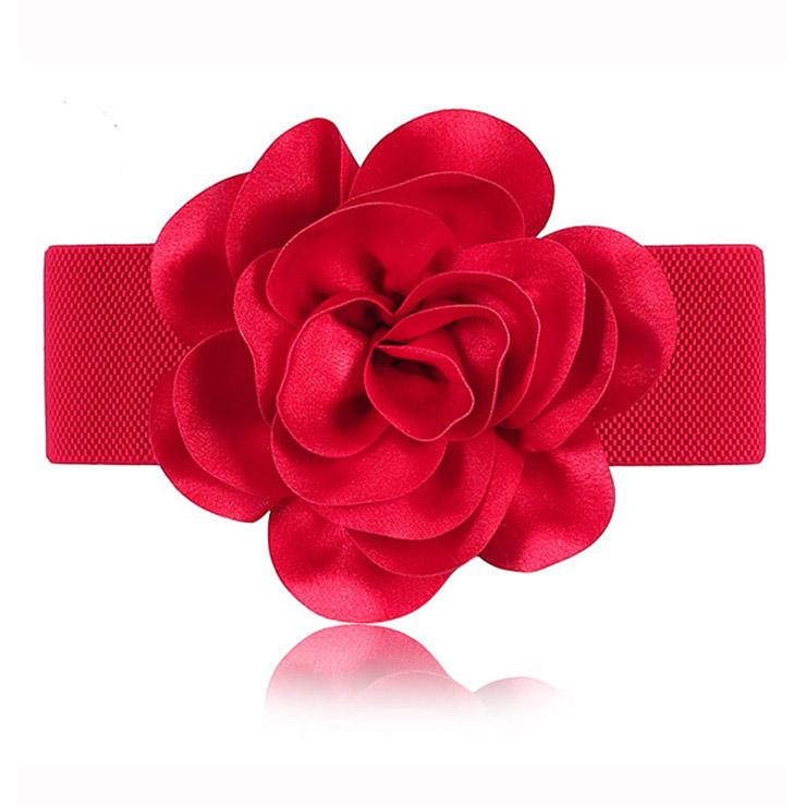 Elastic Satin Rose Wide Waist Belt