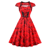 Cindy Rose Print Cap Sleeve Swing Dress
