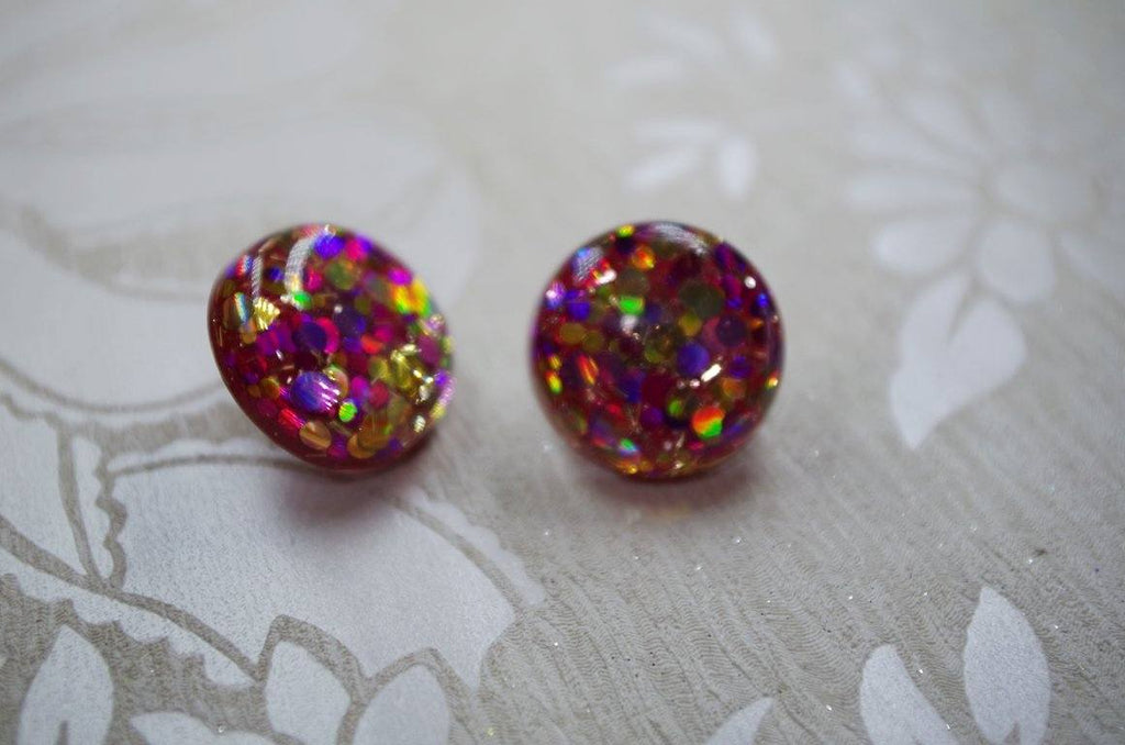 Clip on's Royal Magenta – 25mm Flat Top Dome Earrings