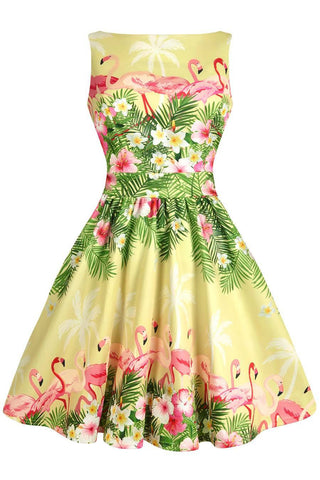 White Finches Tea Dress