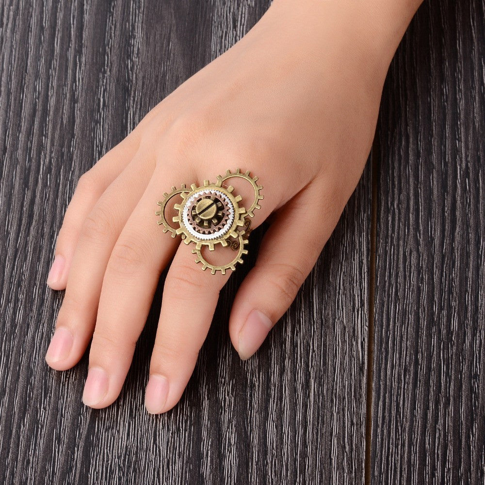 Steampunk Cogs Adjustable Ring