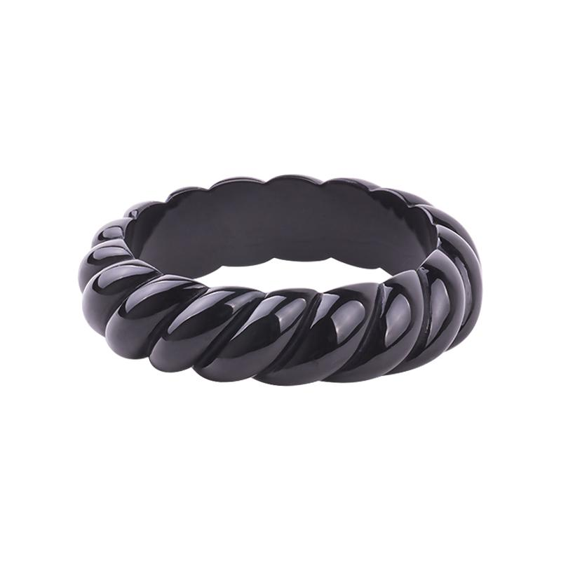 Swirl 2cm Wide Resin Bangle Ebony