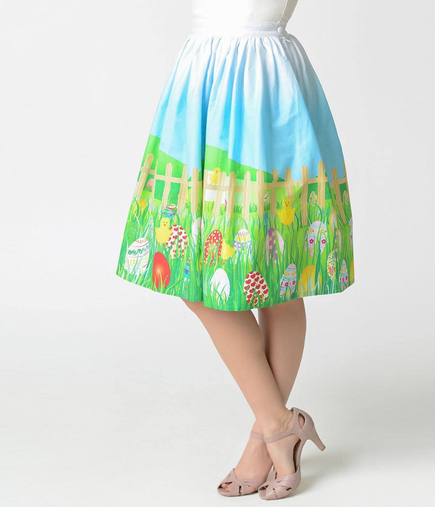 Unique Vintage 1950's Easter Egg High Waisted Skirt XS  to 4XLSkirtUnique Vintage - Cherri Lane 50's Vintage Inspired Pinup Rockabilly & Alternative Clothing Australia