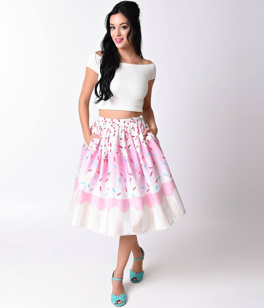 Unique Vintage 1950s High Waist Pink Cupcake Circle Swing Skirt XS to 4XL Plus sizeSkirtUnique Vintage - Cherri Lane 50's Vintage Inspired Pinup Rockabilly & Alternative Clothing Australia