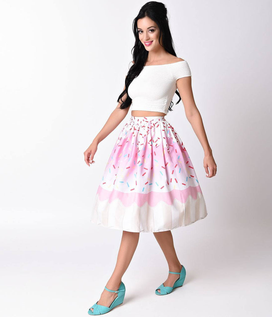 Unique Vintage 1950s High Waist Pink Cupcake Circle Swing Skirt XS to 4XL Plus size