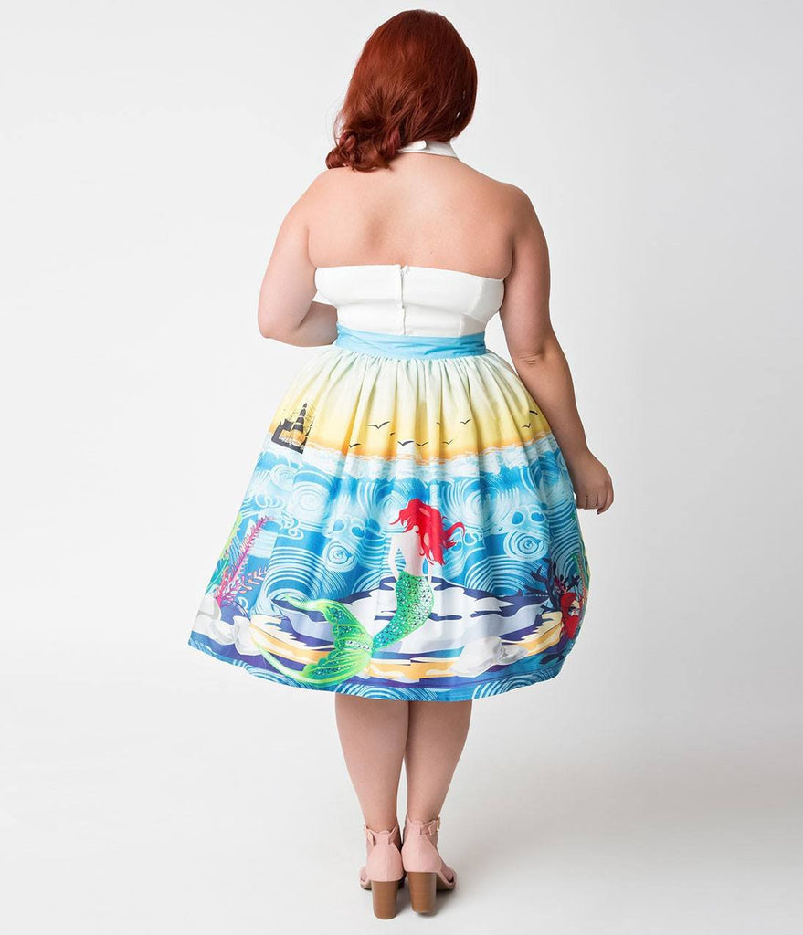 Unique Vintage 1950's Mermaid Daydream High Waisted Skirt XS to 4XLSkirtUnique Vintage - Cherri Lane 50's Vintage Inspired Pinup Rockabilly & Alternative Clothing Australia