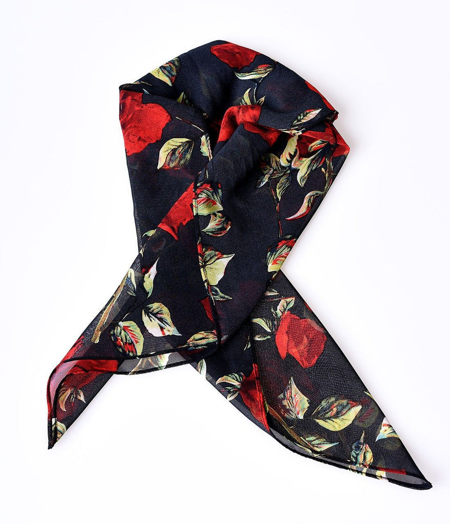 Retro Pin-Up Black & Red Rose Chiffon Hair ScarfScarfUnique Vintage - Cherri Lane 50's Vintage Inspired Pinup Rockabilly & Alternative Clothing Australia