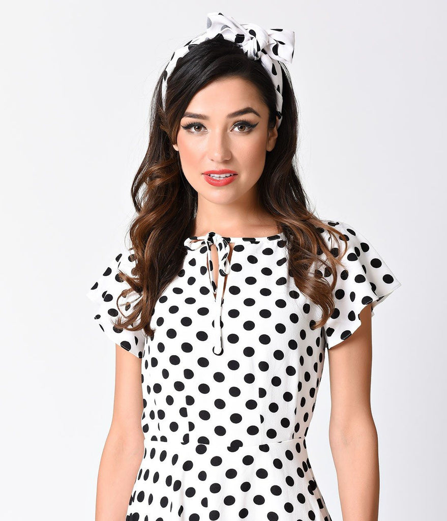 Retro Pin-Up White & Black Polka Dot Hair Scarf