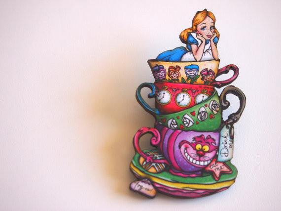 Teacup Alice - Alice in Wonderland - Laser Cut Wooden BroochbroochHungry Designs - Cherri Lane 50's Vintage Inspired Pinup Rockabilly & Alternative Clothing Australia