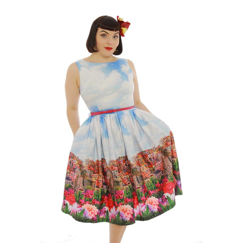 Audrey Italian Floral Border Print Swing Dress