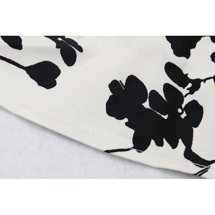 White and Black Floral Print Casual
