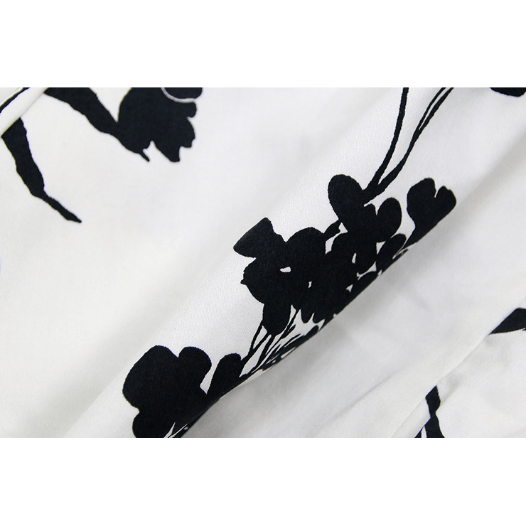 White and Black Floral Print CasualDressCherri Lane - Cherri Lane 50's Vintage Inspired Pinup Rockabilly & Alternative Clothing Australia
