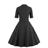 Polka dot black front Sweetheart Neck Half Sleeve Swing DressDressesCherri Lane - Cherri Lane 50's Vintage Inspired Pinup Rockabilly & Alternative Clothing Australia