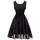 Catherine Chiffon Black Tea Dress