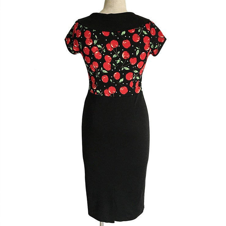 Vintage Inspired Cherry Print Collared Pencil DressDressCherri Lane - Cherri Lane 50's Vintage Inspired Pinup Rockabilly & Alternative Clothing Australia