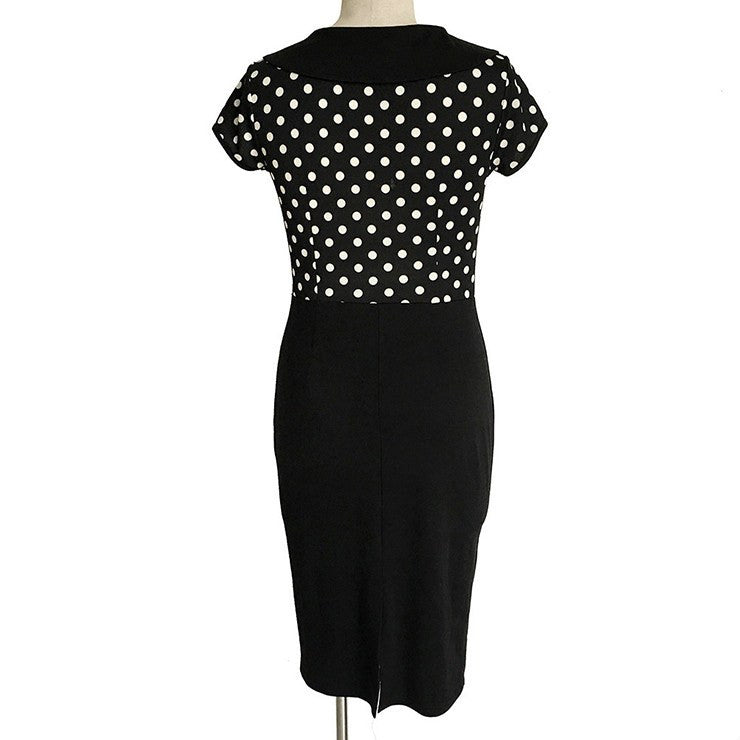 Vintage Inspired Polka Dot Print Collared Pencil DressDressCherri Lane - Cherri Lane 50's Vintage Inspired Pinup Rockabilly & Alternative Clothing Australia