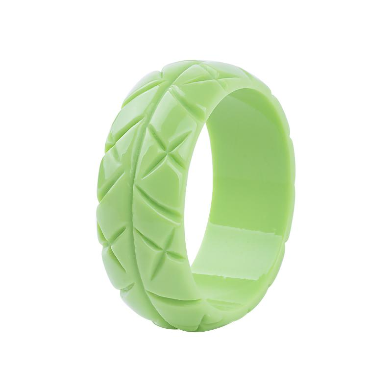Cross Hatch Carved 3cm Wide Resin Bangle Key Lime