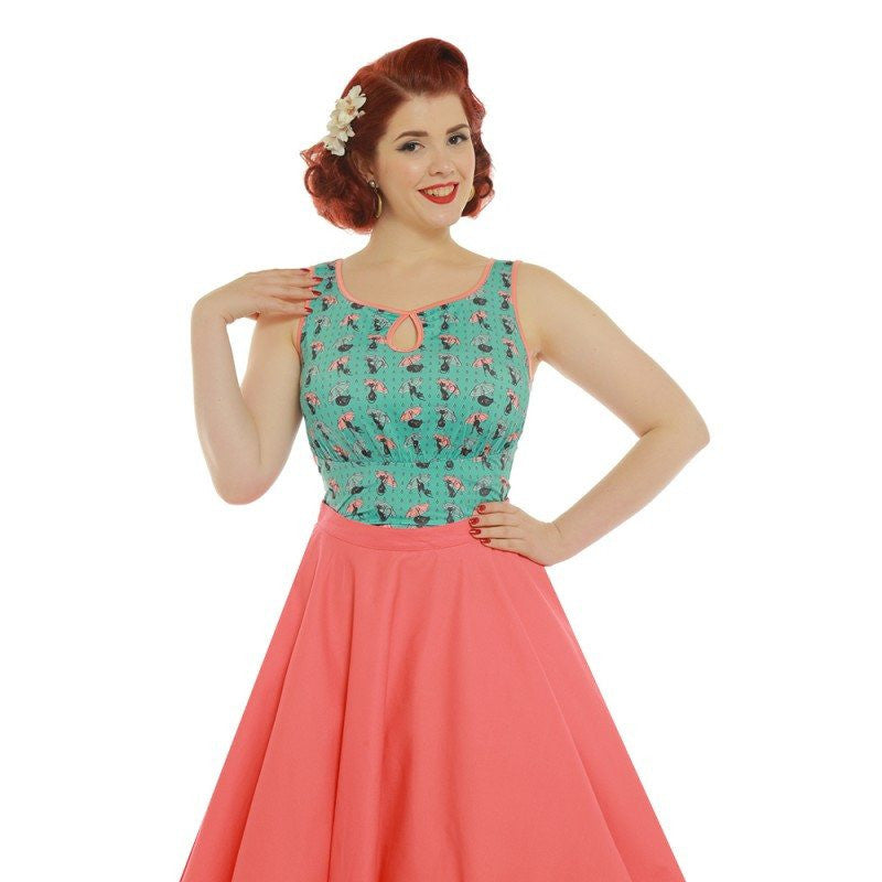 Daisy Cats in Rain Jersey TopTopLindy Bop - Cherri Lane 50's Vintage Inspired Pinup Rockabilly & Alternative Clothing Australia