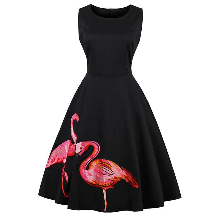 Fancy Flamingo Embroidered A-Line Dress