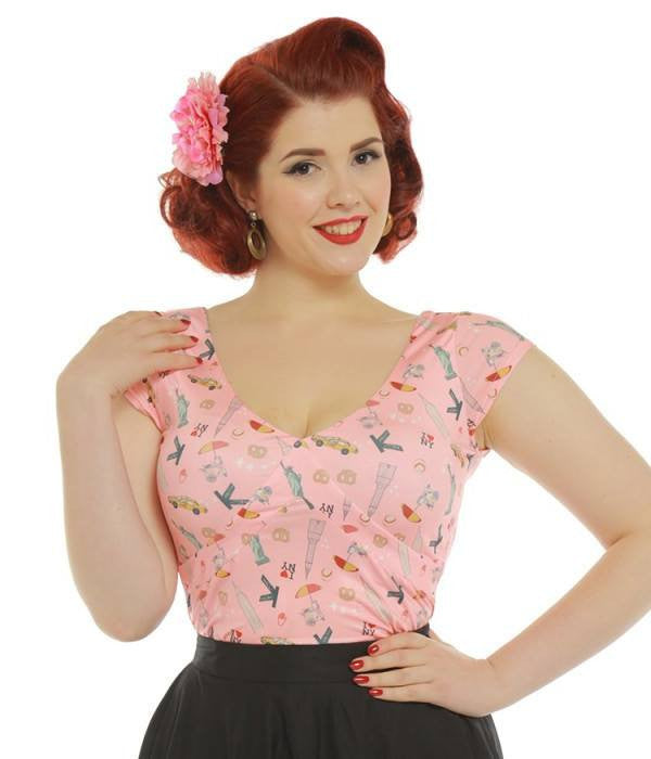 Ellamae Pink New York Print Jersey Top