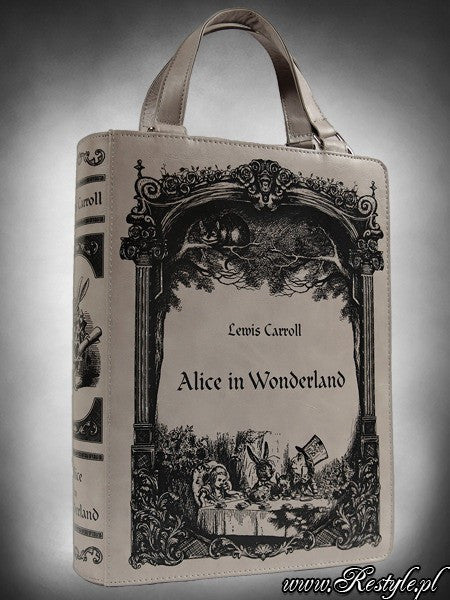 Grey Book Bag Alice in Wonderland Gothic lolita Handbag, Lewis CarrollhandbagsRestyle - Cherri Lane 50's Vintage Inspired Pinup Rockabilly & Alternative Clothing Australia